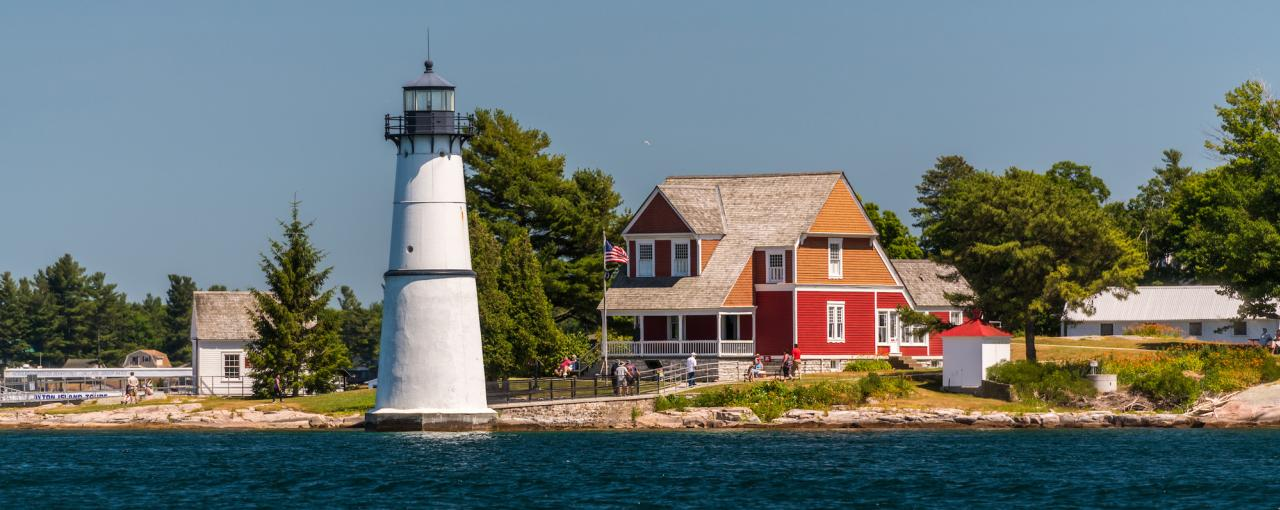 A landscape photo of Rock Island Lighthouse State Park