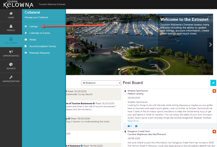 Extranet Collateral Tab - Listings