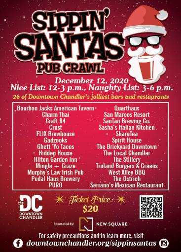Sippin' Santas Pub Crawl in Downtown Chandler