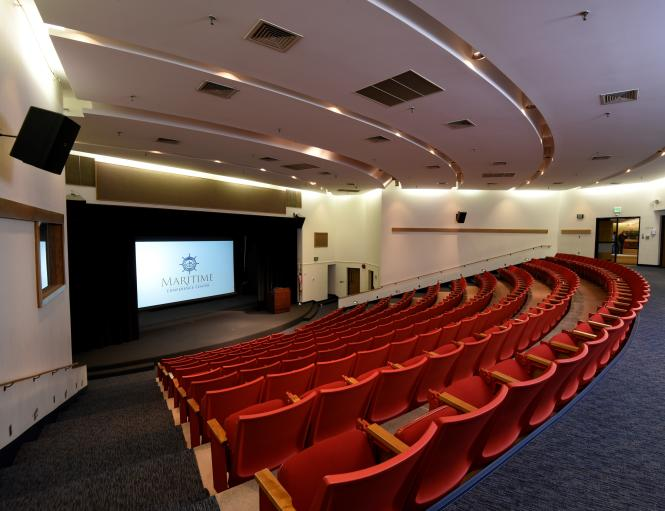 A tiered auditorium in the Maritime Conference Center.