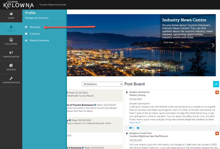 Extranet Profile Tab - Accounts