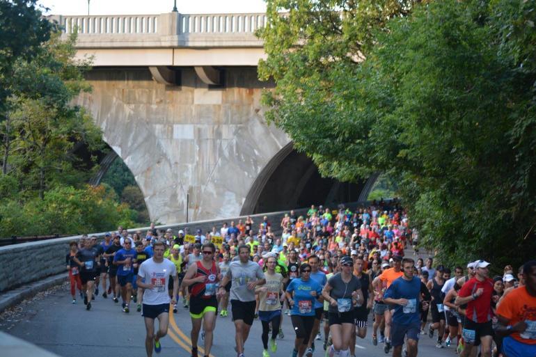 Rochester Marathon Runners Along Genesee River
