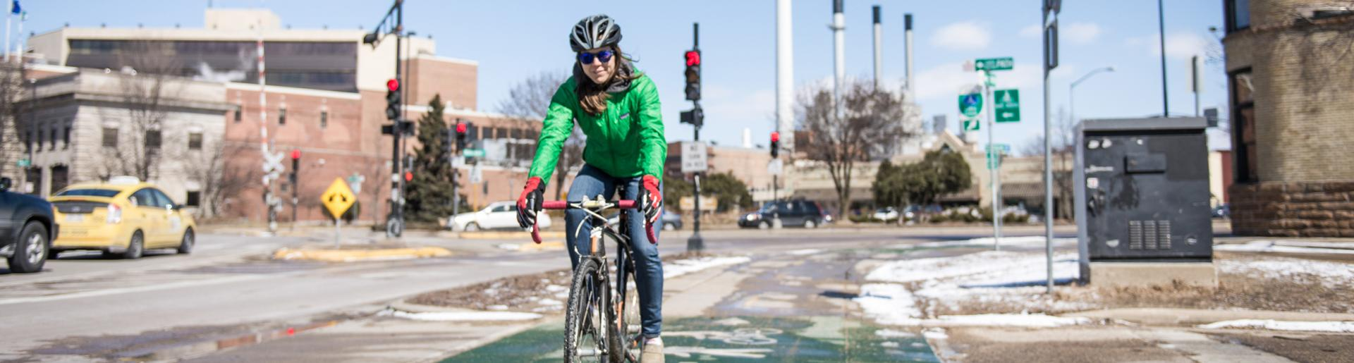 Biking Downtown in Winter