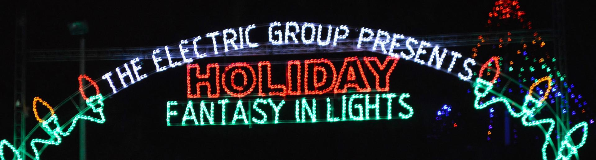 The entrance sign to Holiday Fantasy in Lights