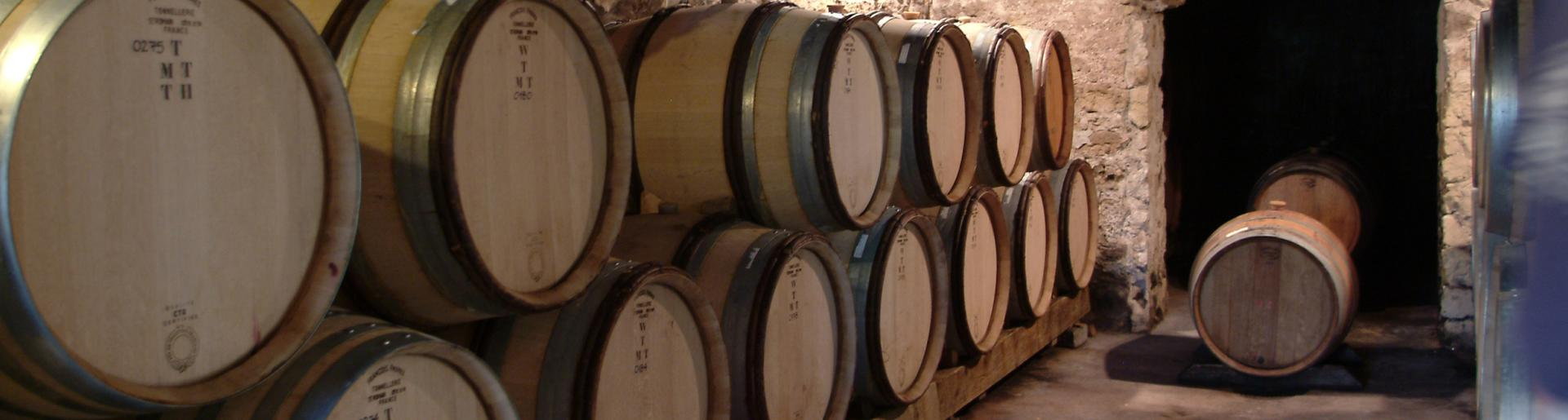 Wine barrels at Wollersheim Winery