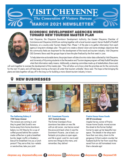 Front cover of March 2021 Newsletter featuring economic development agencies and three new businesses.