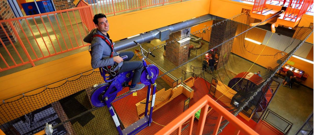 The HighWire Bike experience at the Discovery Center in Springfield, Missouri