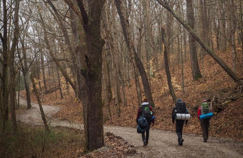 Three people backpacking in the Hoosier National Forest