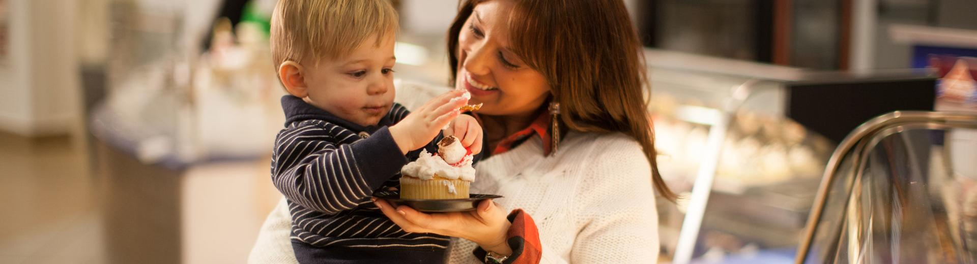Mother and son eating dessert in Hershey
