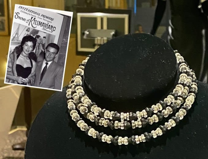 Black and clear beaded necklace Ava Gardner wore to premiere of The Snows of Kilimanjaro with inset image of Ava wearing the necklace at the premiere.