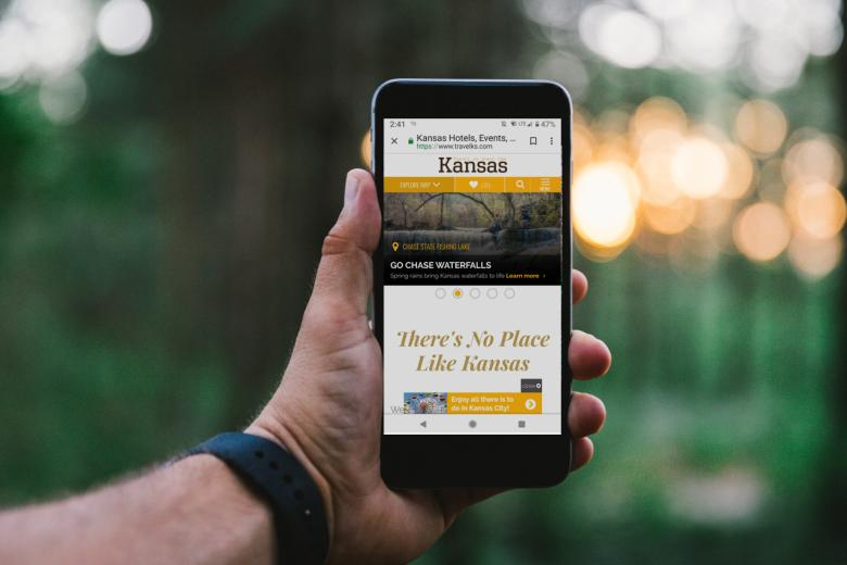 Travel Kansas shown on a mobile phone