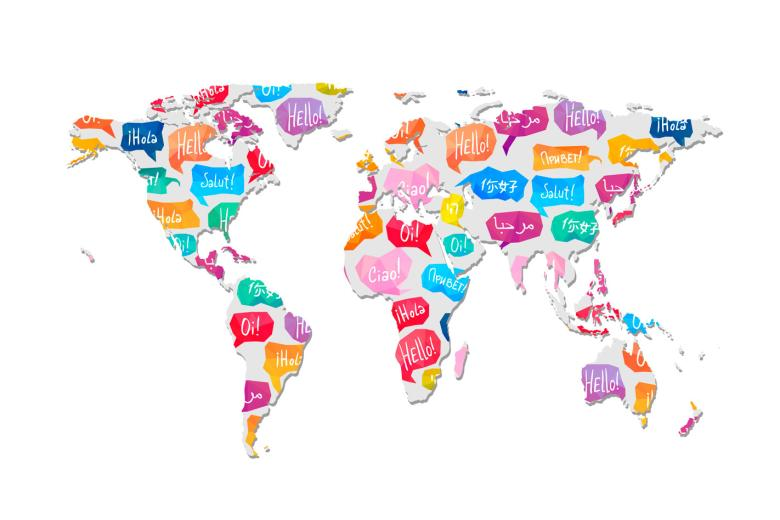 Languages on a world map