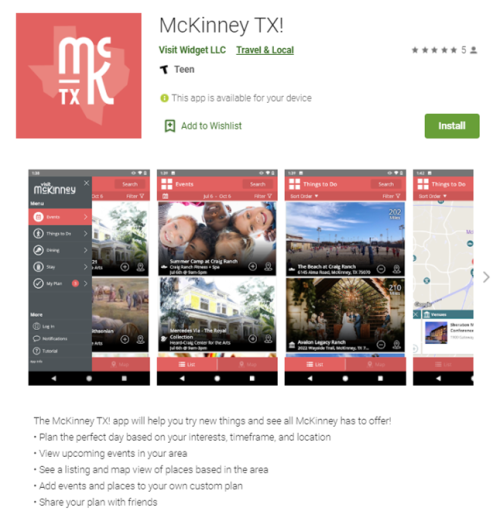 screen capture of app store screen