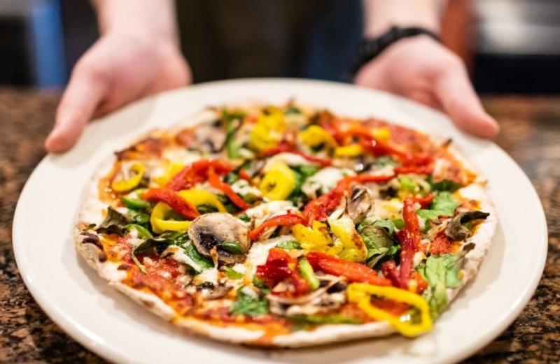 Veggie pizza from DeAngelo's