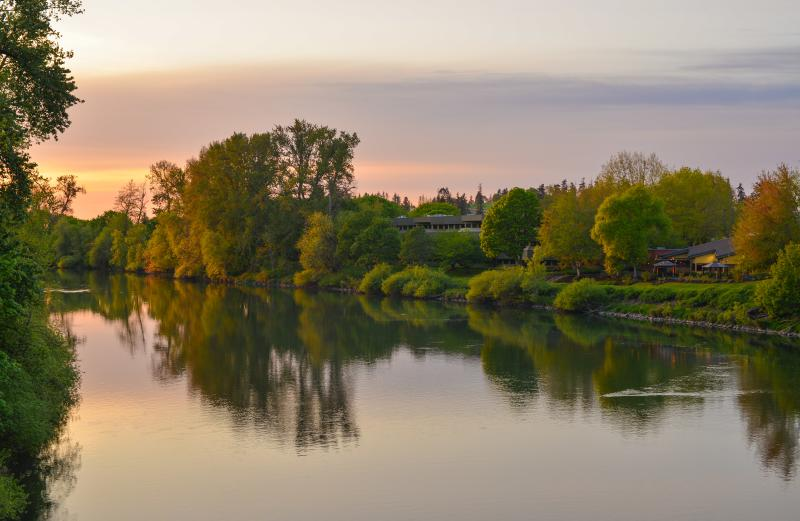Willamette River at sunset by Melanie Griffin