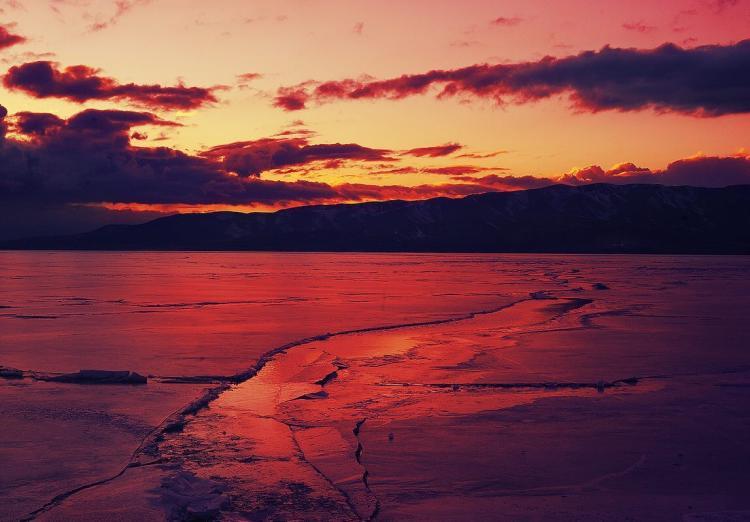 Utah Lake State Park Winter Sunset