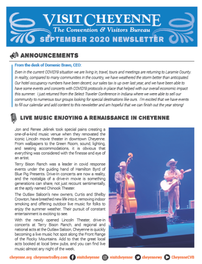 Newsletter front featuring a mostly blue background with a bass fiddle player and guitar player in the foreground.