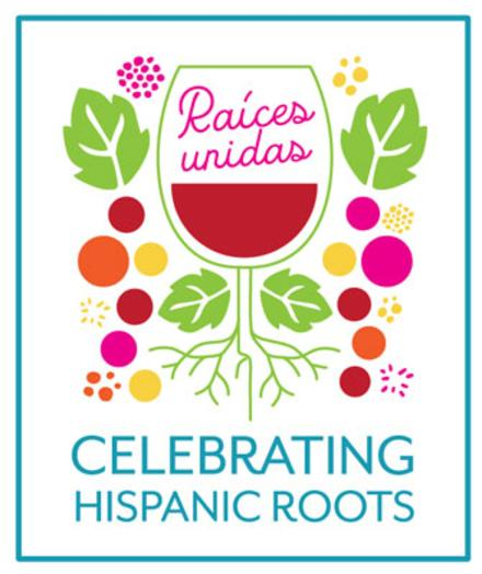 Celebrating Hispanic Roots event logo with wine glass and grapes, Raices Unidas slogan