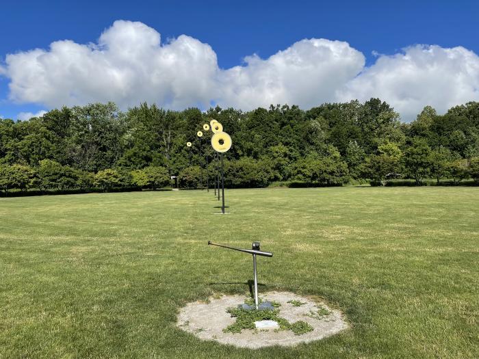 Public art piece, Going, Going...Gone in Darree Fields
