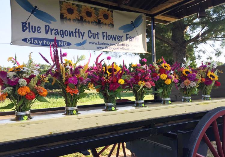Blue Dragonfly Cut Flower Farm Wagon