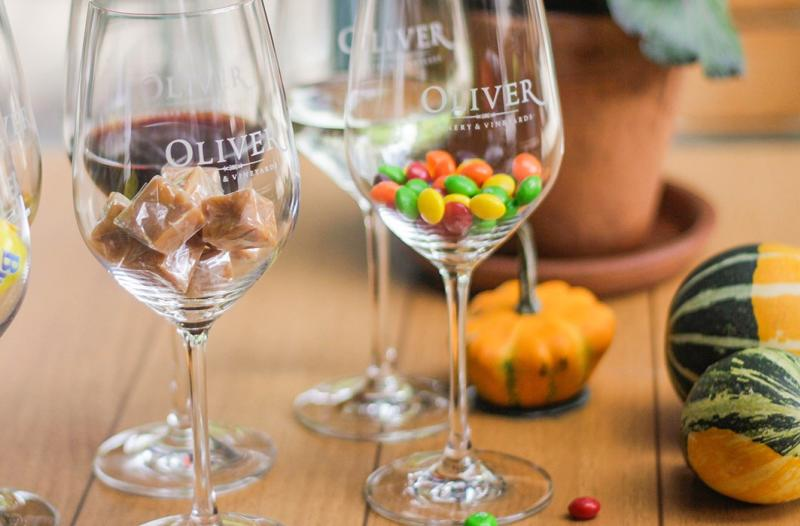 Candy and wine pairings for Oliver Winery's annual Halloween tastings