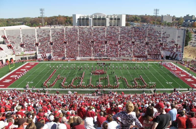 The Marching 100 half-time show at an IU football game