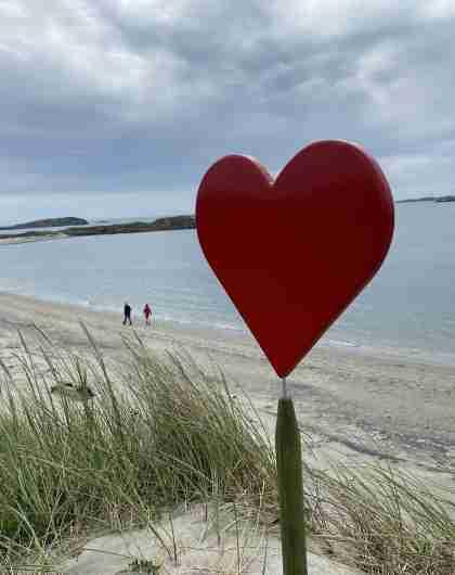 Hjerte ved kyststien Lista, her fra idylliske Husebysanden