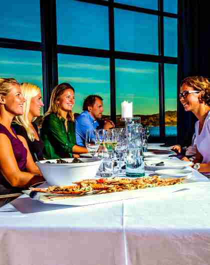 Guests at Lindesnes Havhotell restaurant
