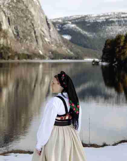 Sigrid Bjørgulvsdotter Berg in her traditonal folk costume in Setesdal, Southern Norway