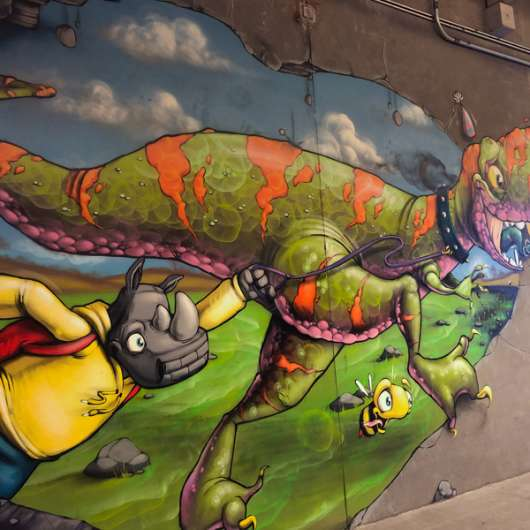 Dinosaur Wall Mural at Prairiefire in Overland Park