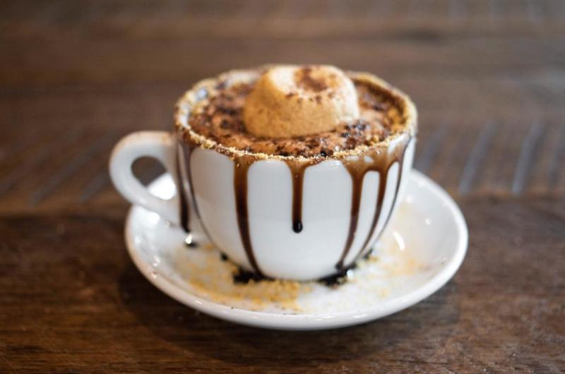 Smores latte from Crumble Coffee & Bakery