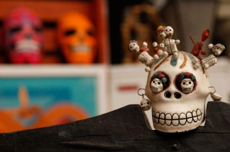 Close-up on the Dia de los Muertos Altar at the Monroe County History Center in Bloomington, IN
