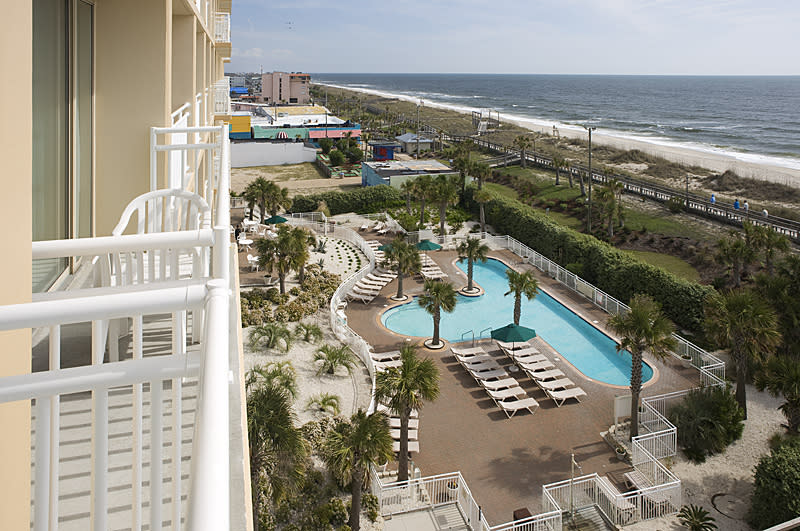 Aerial view of the Courtyard Marriott and pool at Carolina Beach, NC