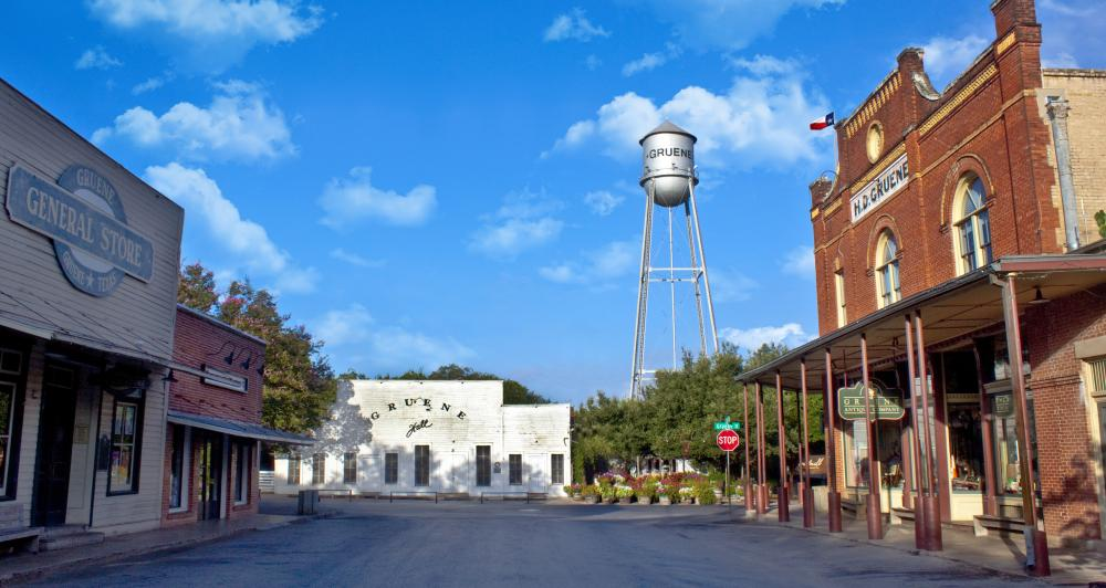 Gruene streetview with water tower and Gruene Hall