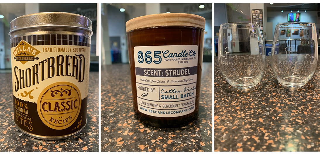 Visit Knoxville Shop products (Shortbread jar, candle, and wine glasses)