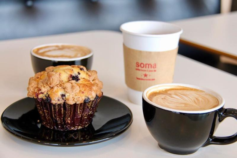 Lattes and a muffin from Soma