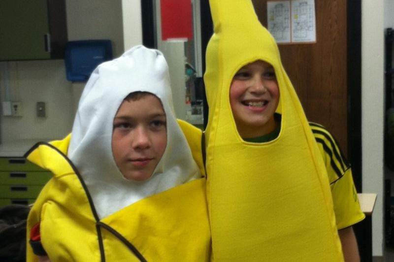 Two boys in banana costumes