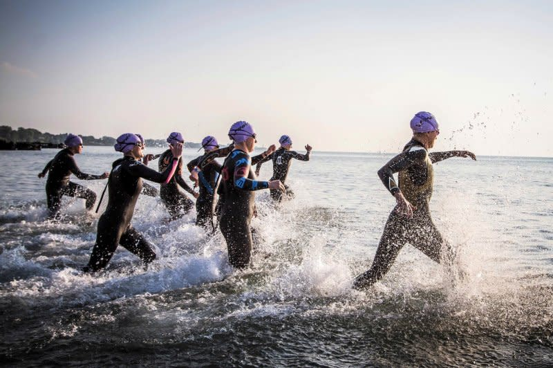 Swimmers at the Maple Grove Triathlon