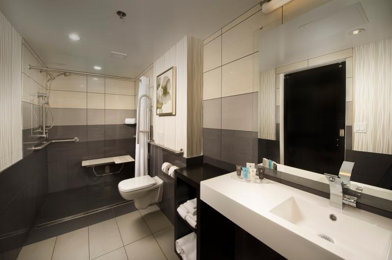 Crowne Plaza Seattle Airport bathroom with clean, minimalist decor
