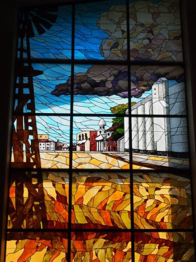A stained glass representation of Russel, Kansas