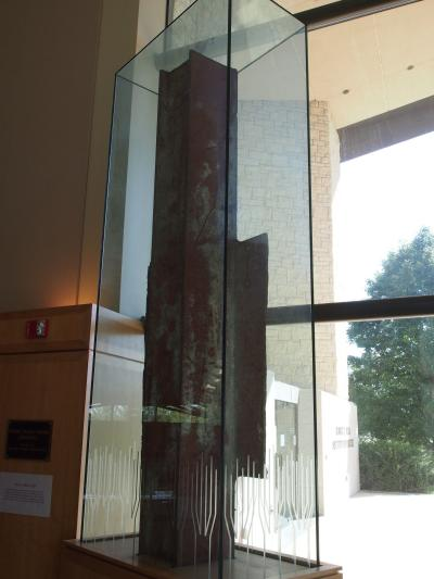 A beam from the World Trade Center that collapsed in the 9-11 attacks in the Dole Institute.