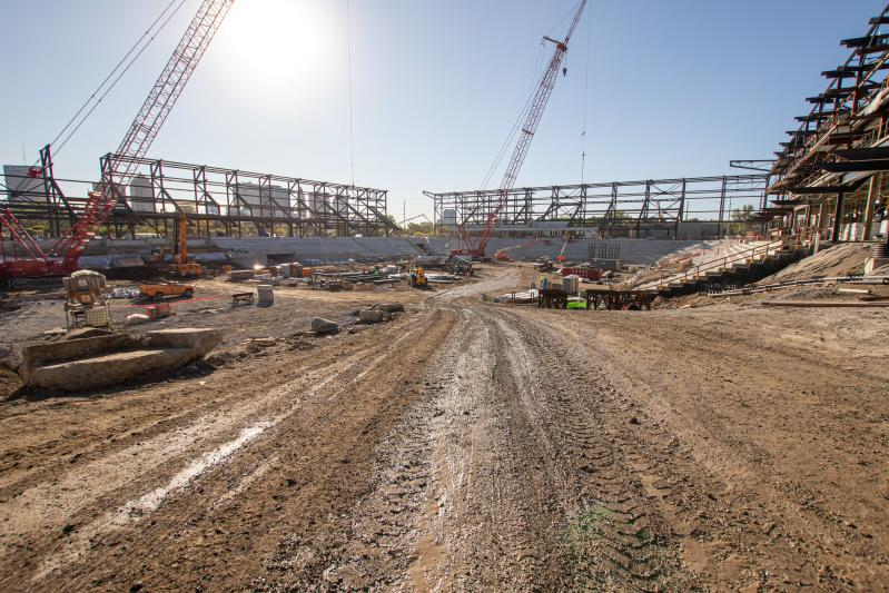 Construction at the building of Columbus Crew SC's new downtown stadium in the Arena District