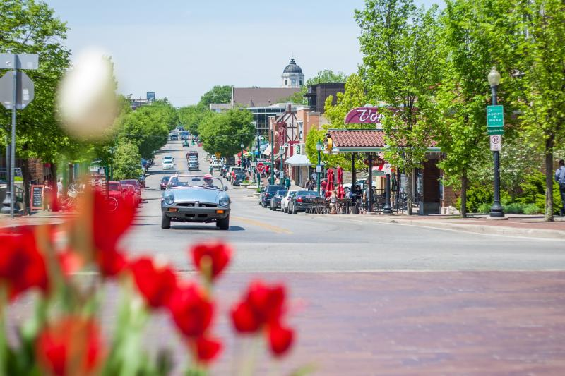Classic car drives past tulips on Kirkwood in Bloomington