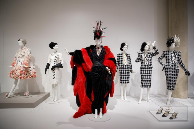 Several of Glenn Close's Cruella de Vil costumes at the Eskenazi Museum of Art