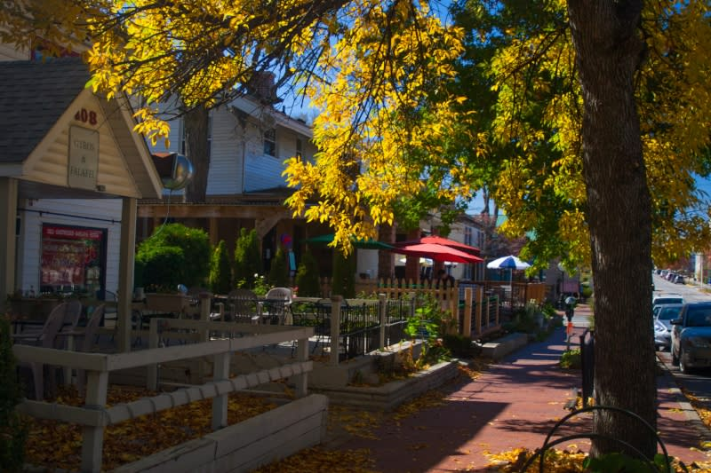 Restaurant patios along 4th Street in Bloomington, Indiana with fall colors