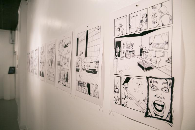 Comic strip exhibit at Dimensions Gallery