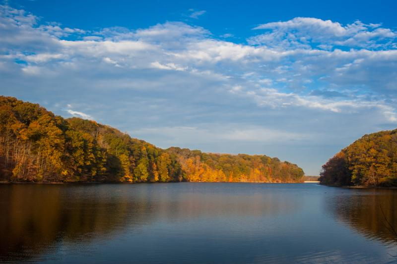 Griffy Lake in Bloomington, IN during fall