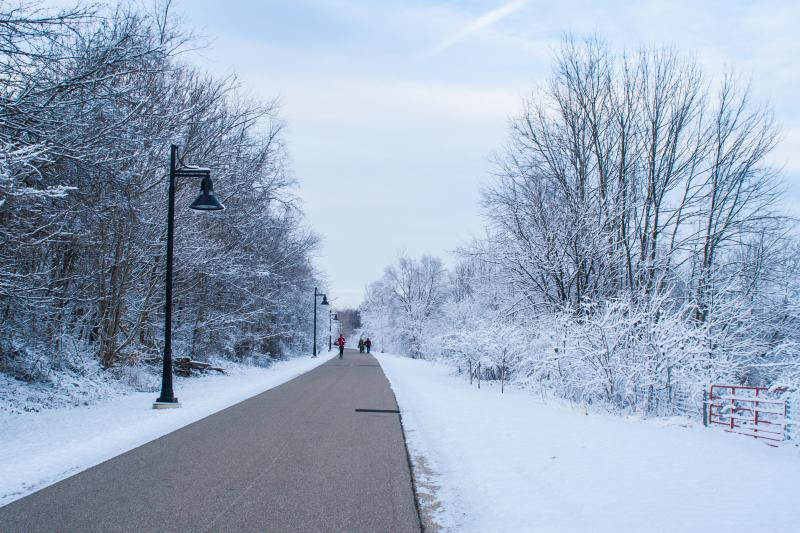 The B-line Trail Covered In Snow In Bloomington