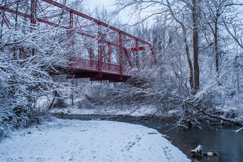 Clear Creek Red Bridge in Winter