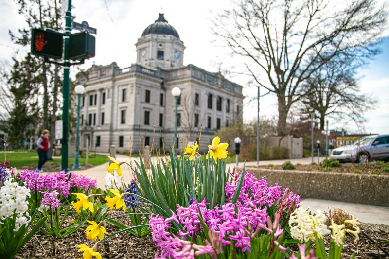 Vibrant spring flowers in front of the Courthouse